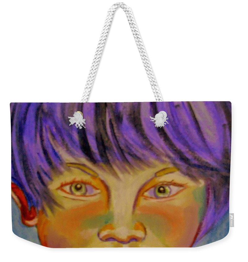 Youth Weekender Tote Bag featuring the painting Le Manga Boy by Rusty Gladdish