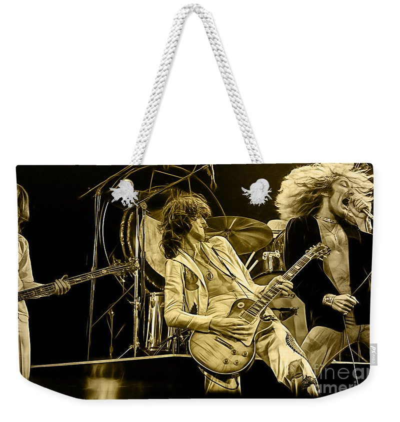 Led Zeppelin Digital Art Weekender Tote Bag featuring the mixed media Led Zeppelin Collection by Marvin Blaine
