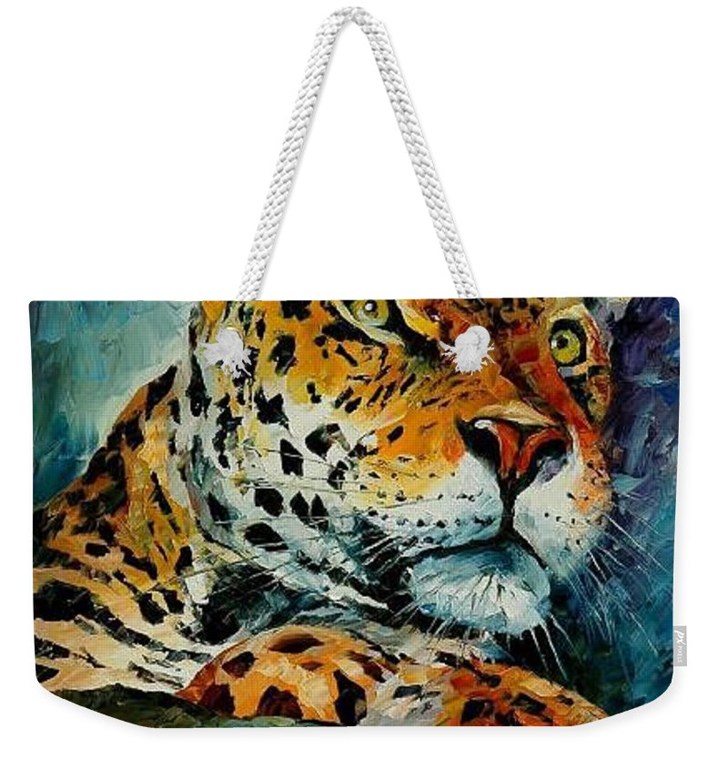 Animal Weekender Tote Bag featuring the painting Leopard by Leonid Afremov