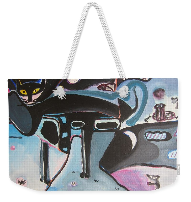 Cat Paintings Weekender Tote Bag featuring the painting Let Me Out by Seon-Jeong Kim