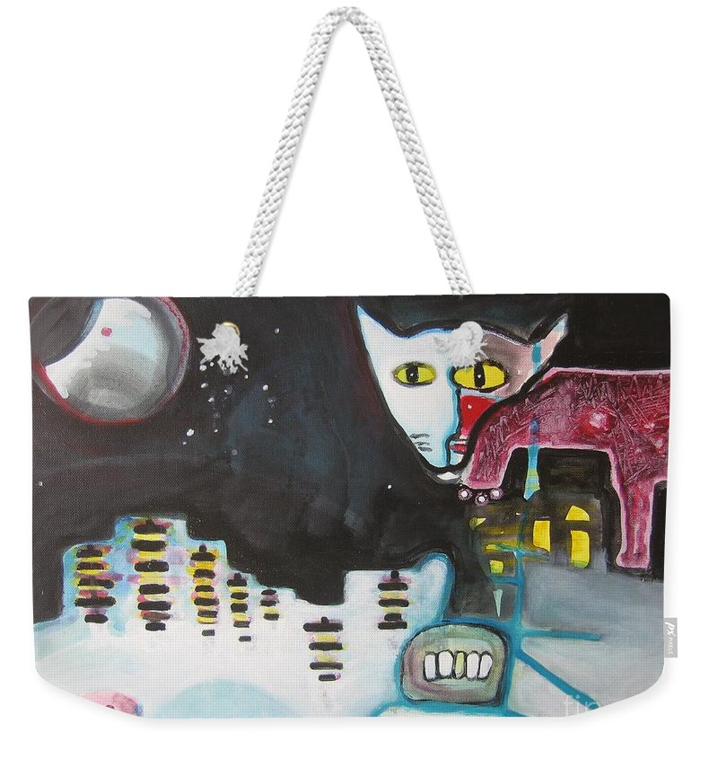 Cat Paintings Weekender Tote Bag featuring the painting Let Me Out3 by Seon-Jeong Kim