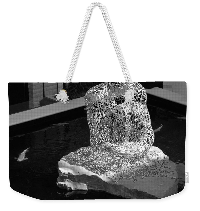 Black And White Weekender Tote Bag featuring the photograph Letterman By Coy by Rob Hans