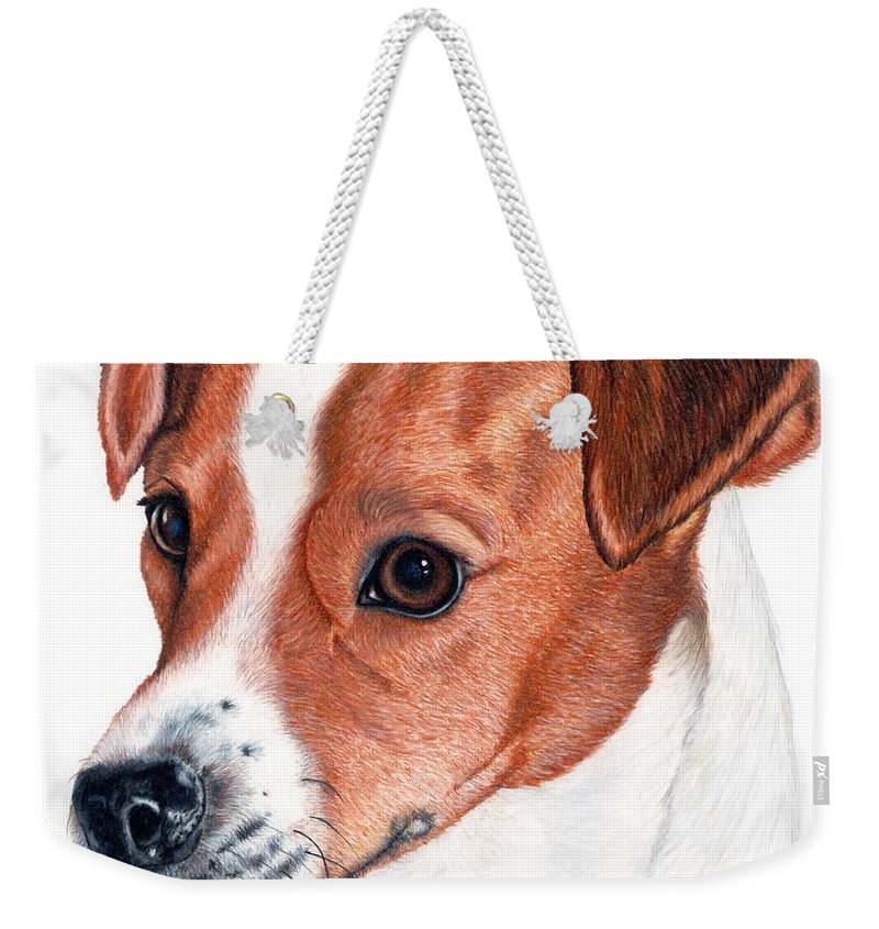 Jack Russell Terrier Weekender Tote Bag featuring the drawing Lewie by Kristen Wesch