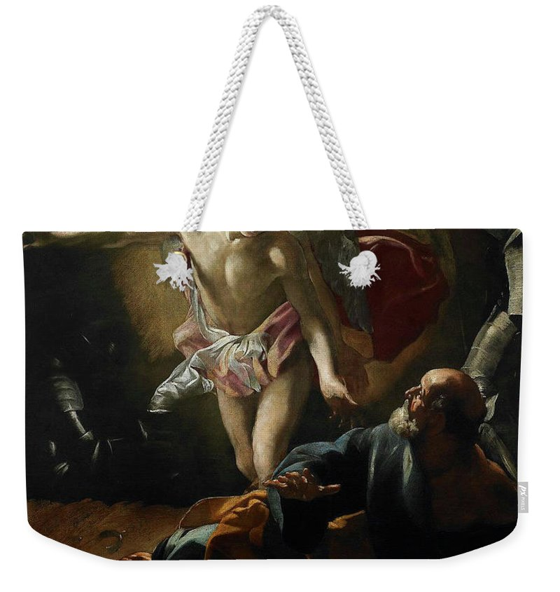 Giovanni Lanfranco (parma 1582-1647 Rome) Weekender Tote Bag featuring the painting Liberation Of Saint Peter by Giovanni Lanfranco