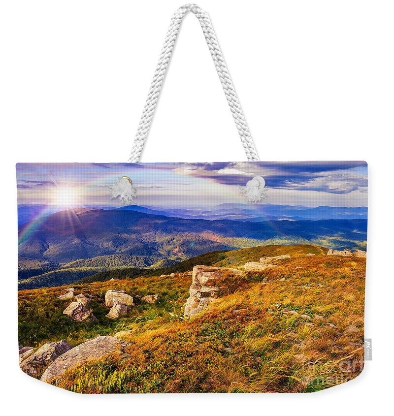 Landscape Weekender Tote Bag featuring the photograph Light On Stone Mountain Slope With Forest by Michael Pelin