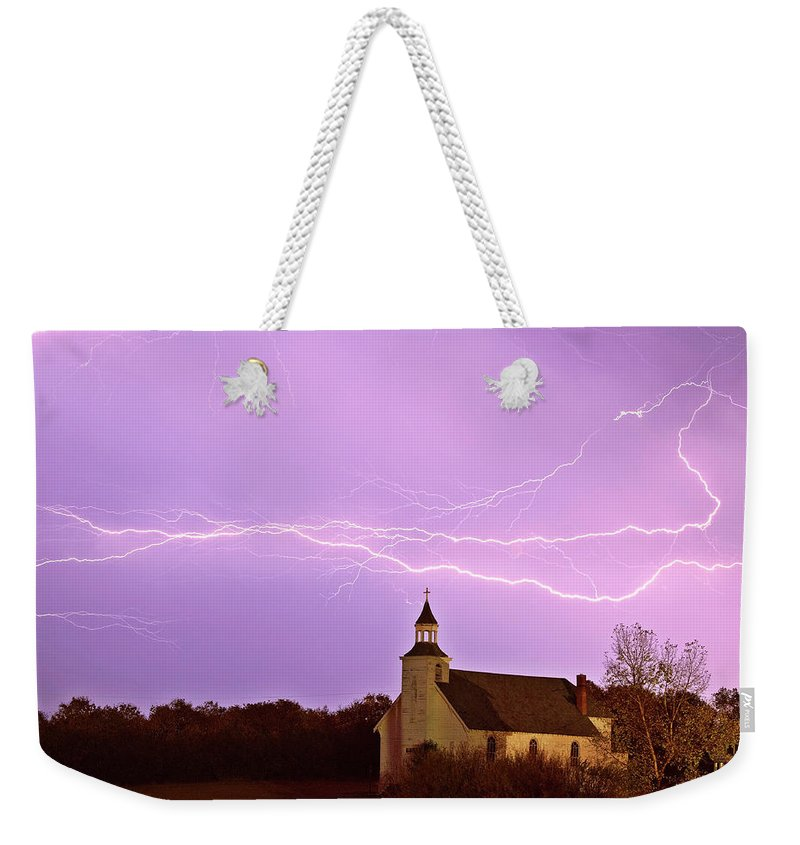 Old Weekender Tote Bag featuring the digital art Lightning Bolts Over Spring Valley Country Church by Mark Duffy
