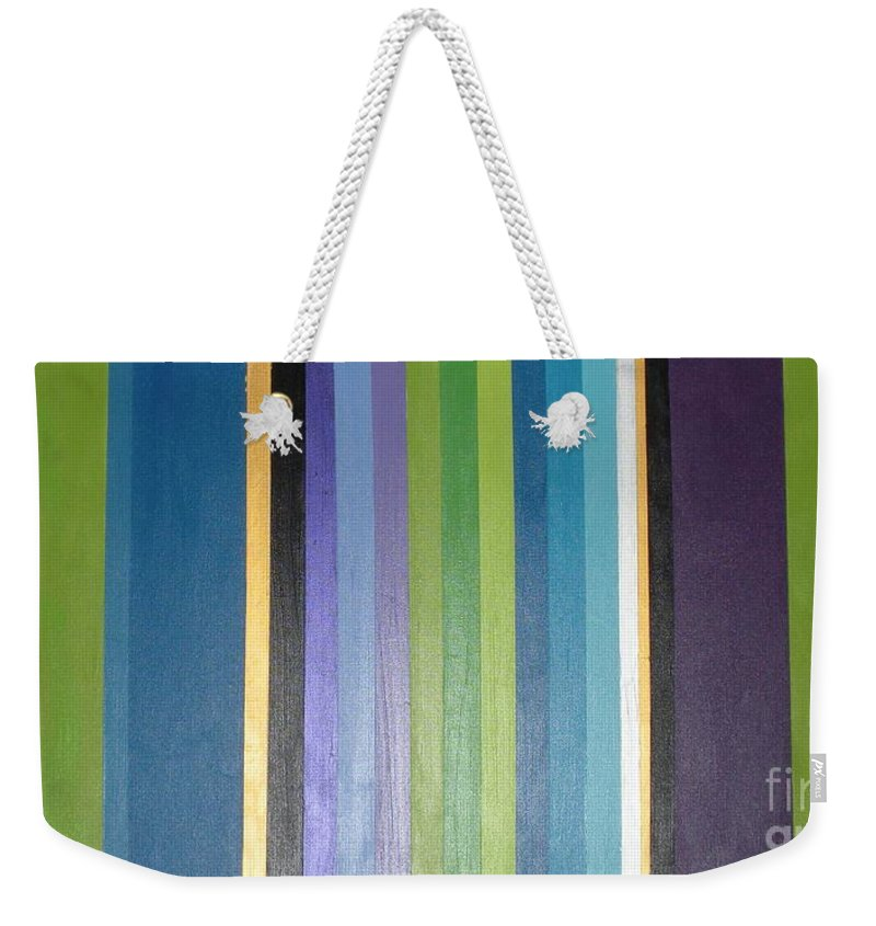 Purple Weekender Tote Bag featuring the painting Linea by Maria Bonnier-Perez
