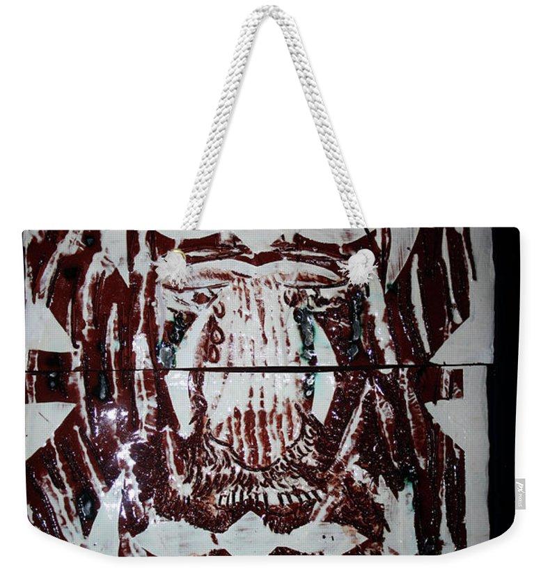 Plaquesmamamama Africa Twojesus Weekender Tote Bag featuring the ceramic art Lion Of Judah by Gloria Ssali