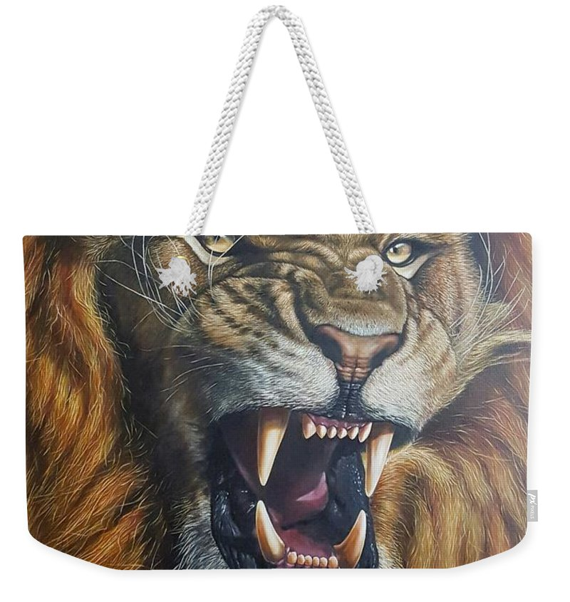 Lion Weekender Tote Bag featuring the painting Lion Roar by Alexandru Burca
