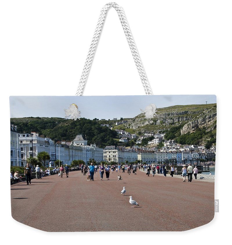 Aqua Weekender Tote Bag featuring the photograph Llandudno Beach by Svetlana Sewell
