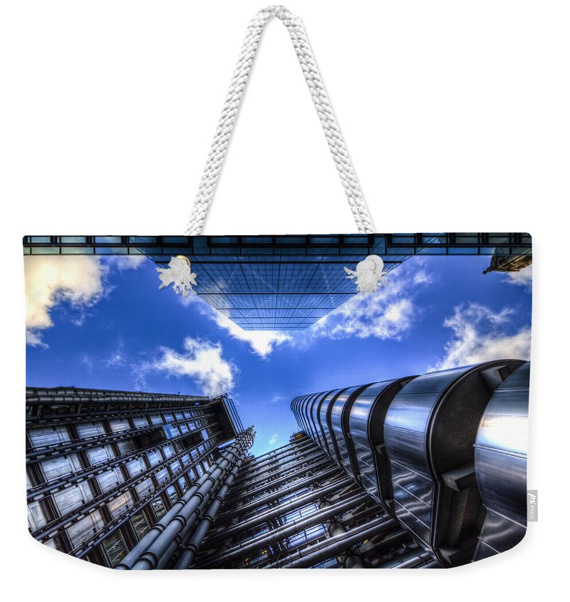 City Of London Weekender Tote Bag featuring the photograph Lloyd's Of London And Cheese Grater by David Pyatt