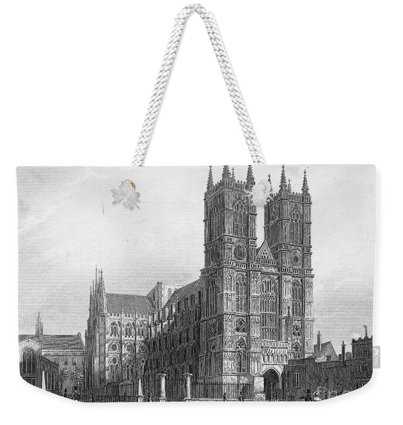 1850 Weekender Tote Bag featuring the photograph London: Westminster Abbey by Granger