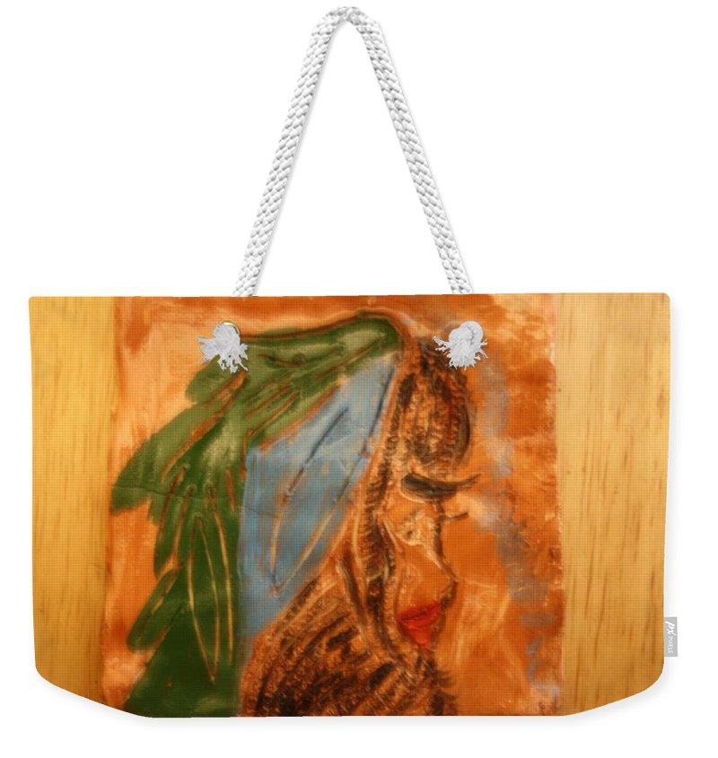 Jesus Weekender Tote Bag featuring the ceramic art Longing - Tile by Gloria Ssali