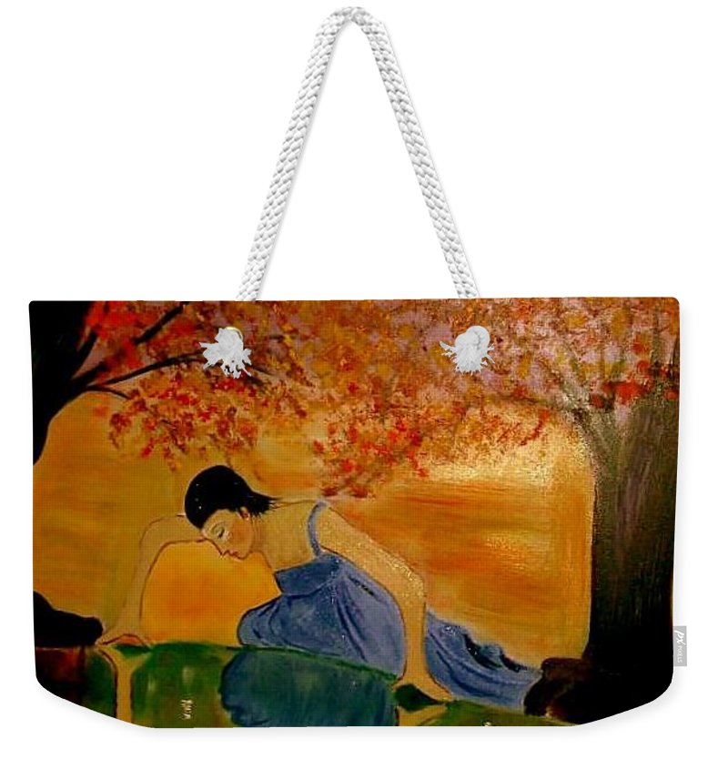 Narcisuss Weekender Tote Bag featuring the painting Looking For Narcisuss by Rusty Gladdish