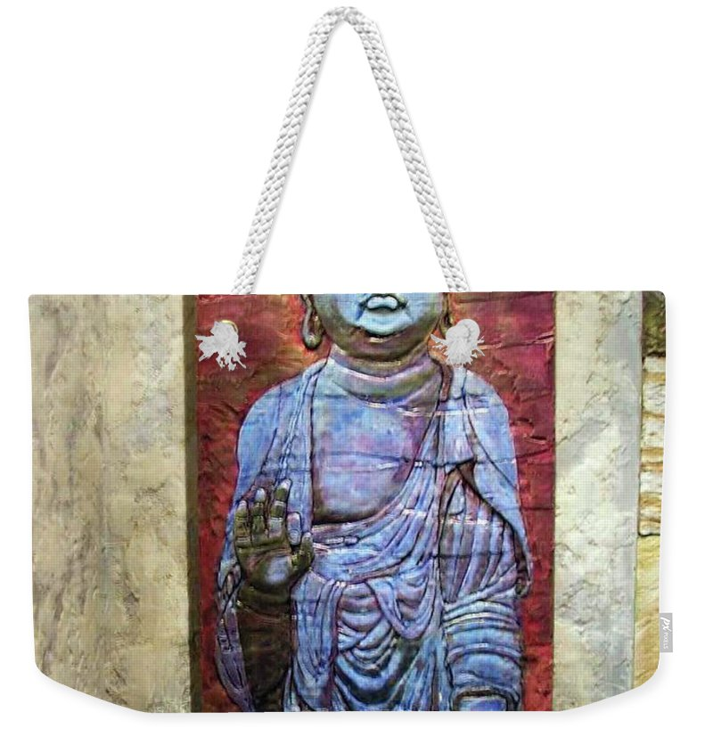Buddha Artwork Weekender Tote Bag featuring the relief Lord Buddha by Constantin Sobaru