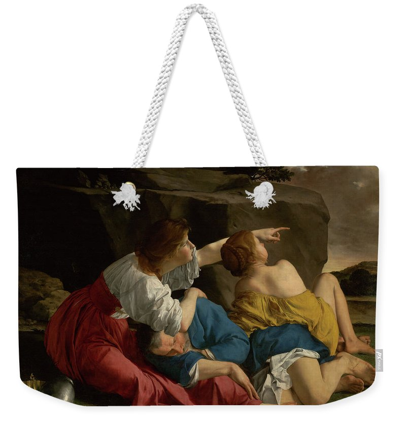Painting Weekender Tote Bag featuring the painting Lot And His Daughters by Mountain Dreams