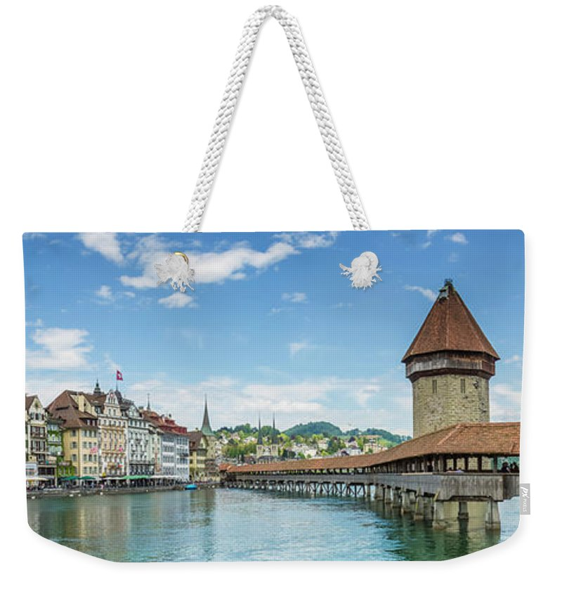 Architecture Weekender Tote Bag featuring the photograph Lucerne Chapel Bridge And Water Tower - Panoramic by Melanie Viola
