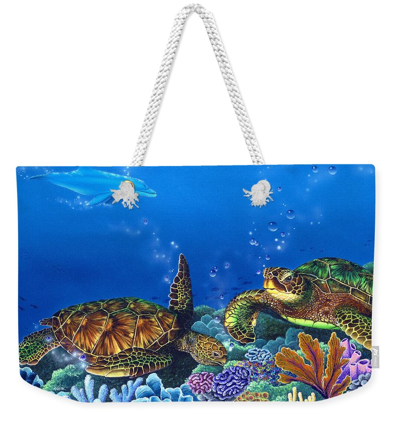 Turtles Weekender Tote Bag featuring the painting Lunchtime by Angie Hamlin