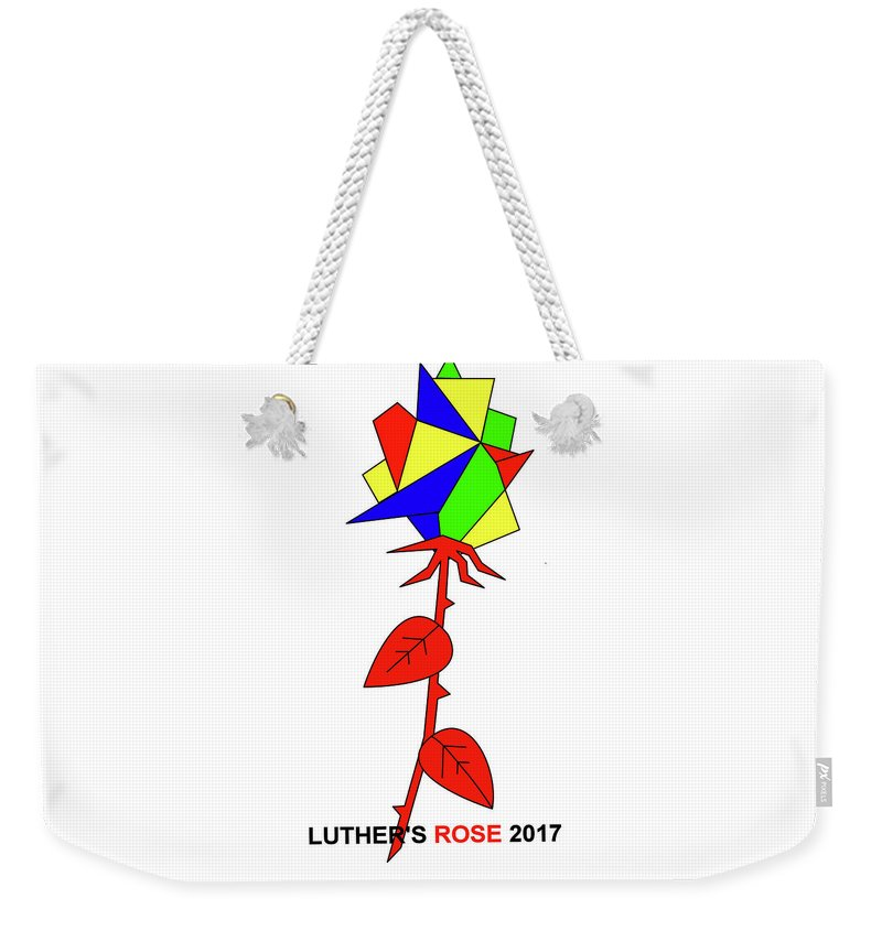 New Rose Weekender Tote Bag featuring the mixed media Luthers New Rose by Asbjorn Lonvig