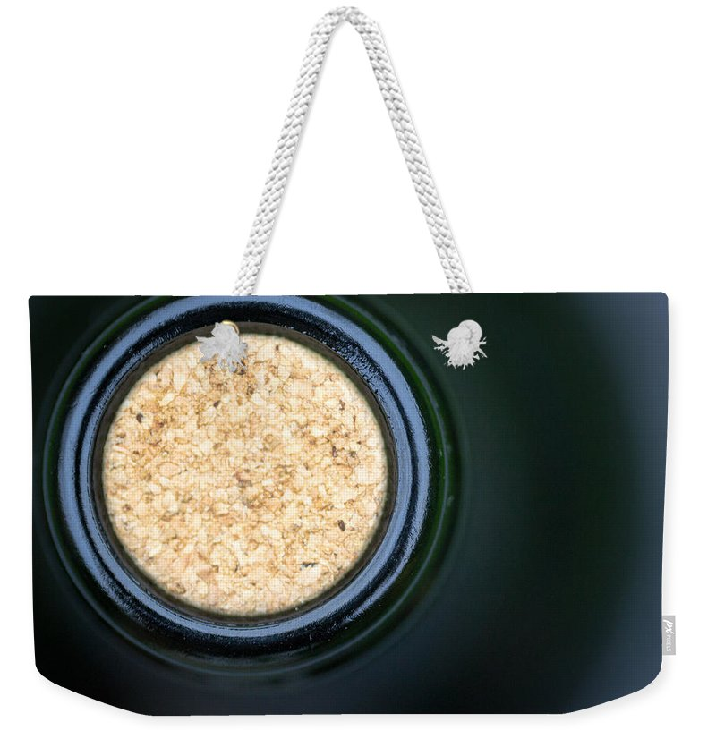 Alcohol Weekender Tote Bag featuring the photograph Macro Closeup Wine Bottle Cork by John Williams