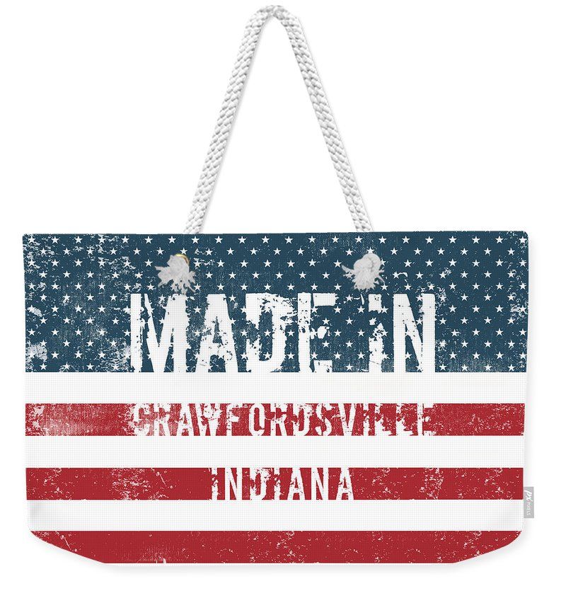 Made Weekender Tote Bag featuring the digital art Made In Crawfordsville, Indiana by Tinto Designs