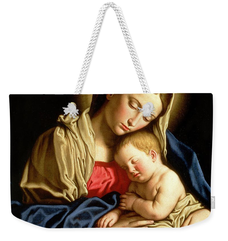 Mary Weekender Tote Bag featuring the painting Madonna And Child by Il Sassoferrato