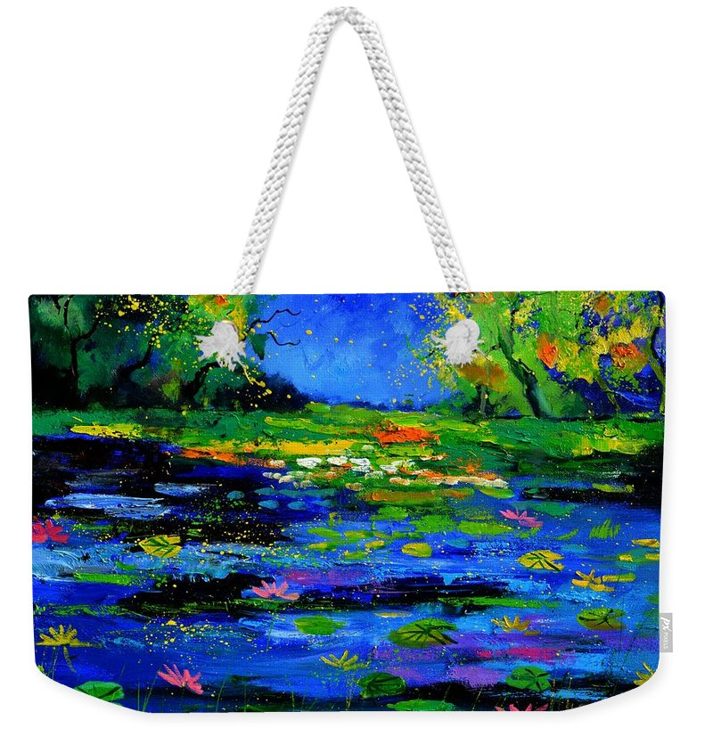 Landscape Weekender Tote Bag featuring the painting Magic pond 765170 by Pol Ledent