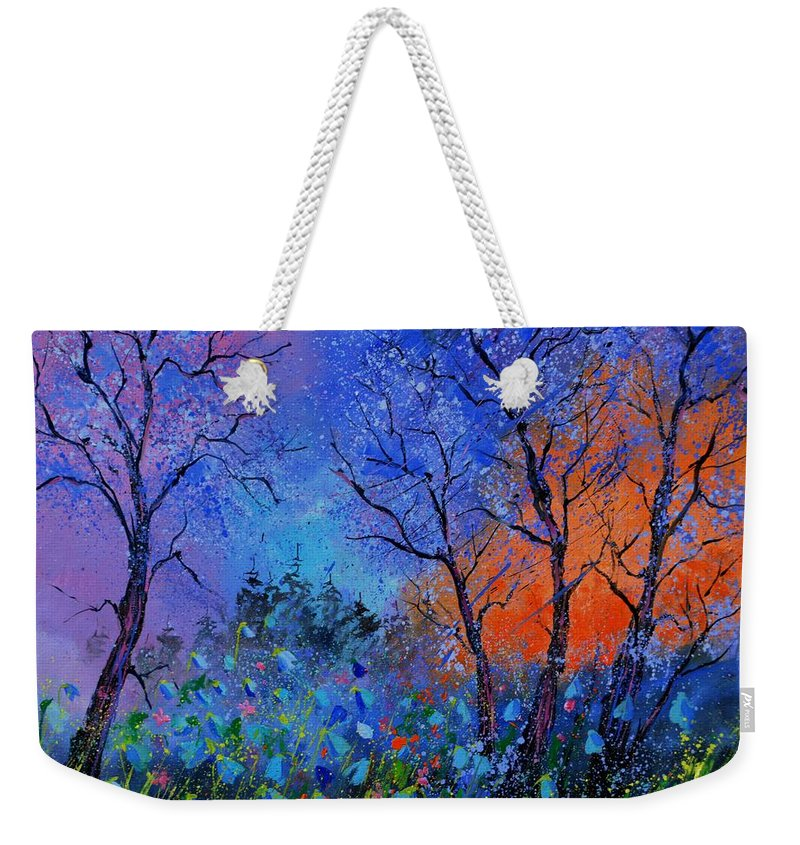 Landscape Weekender Tote Bag featuring the painting Magic wood by Pol Ledent
