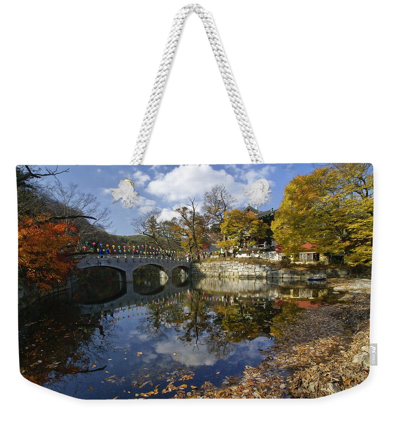 Korea Weekender Tote Bag featuring the photograph Magoksa Buddhist Temple by Michele Burgess