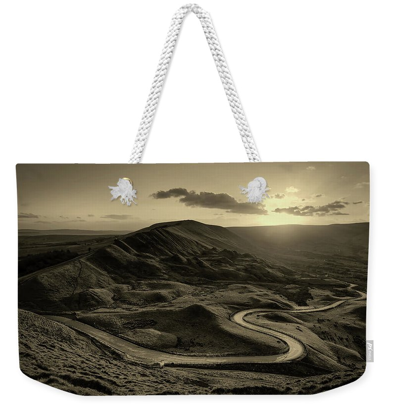 Mam Tor Weekender Tote Bag featuring the photograph Mam Tor In Derbyshire by Unsplash