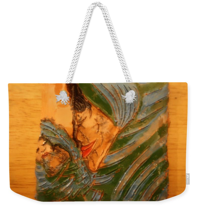 Jesus Weekender Tote Bag featuring the ceramic art Mama - Tile by Gloria Ssali