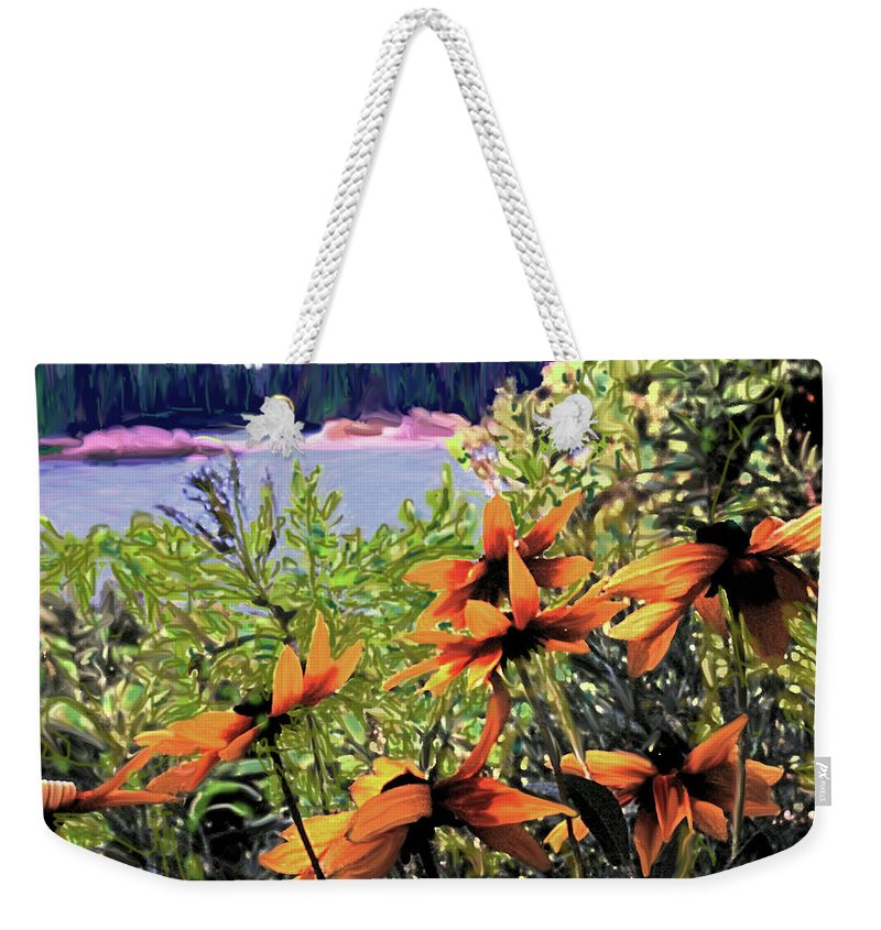 Manitoulin Weekender Tote Bag featuring the digital art Manitoulin Shores by Ian MacDonald