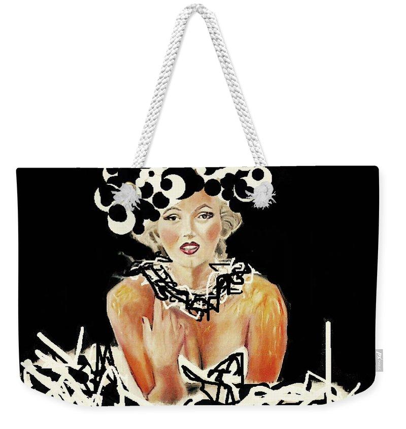Marilyn Monroe Weekender Tote Bag featuring the mixed media Marilyn Monroe by Dianne Lynn Benanti
