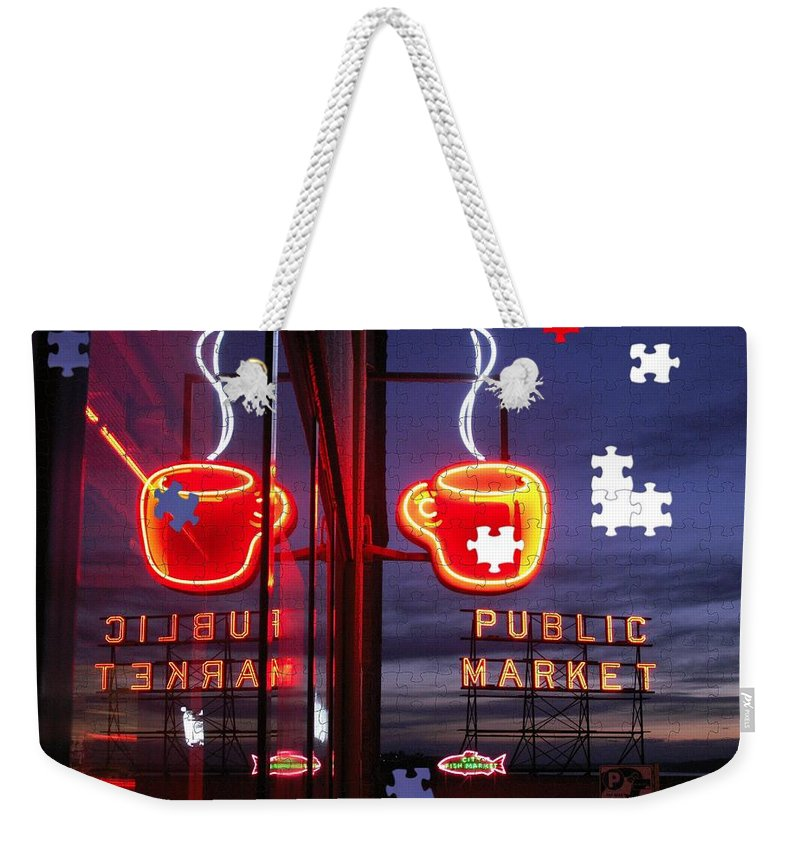 Seattle Weekender Tote Bag featuring the photograph Market Cup by Tim Allen