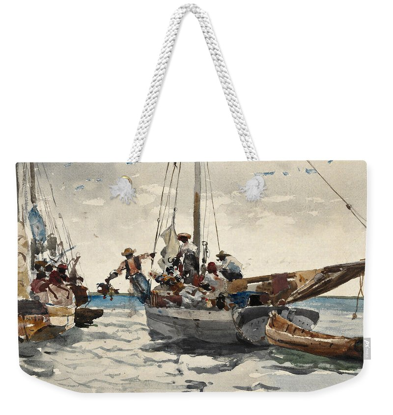 Winslow Homer Weekender Tote Bag featuring the drawing Market Scene. Nassau by Winslow Homer