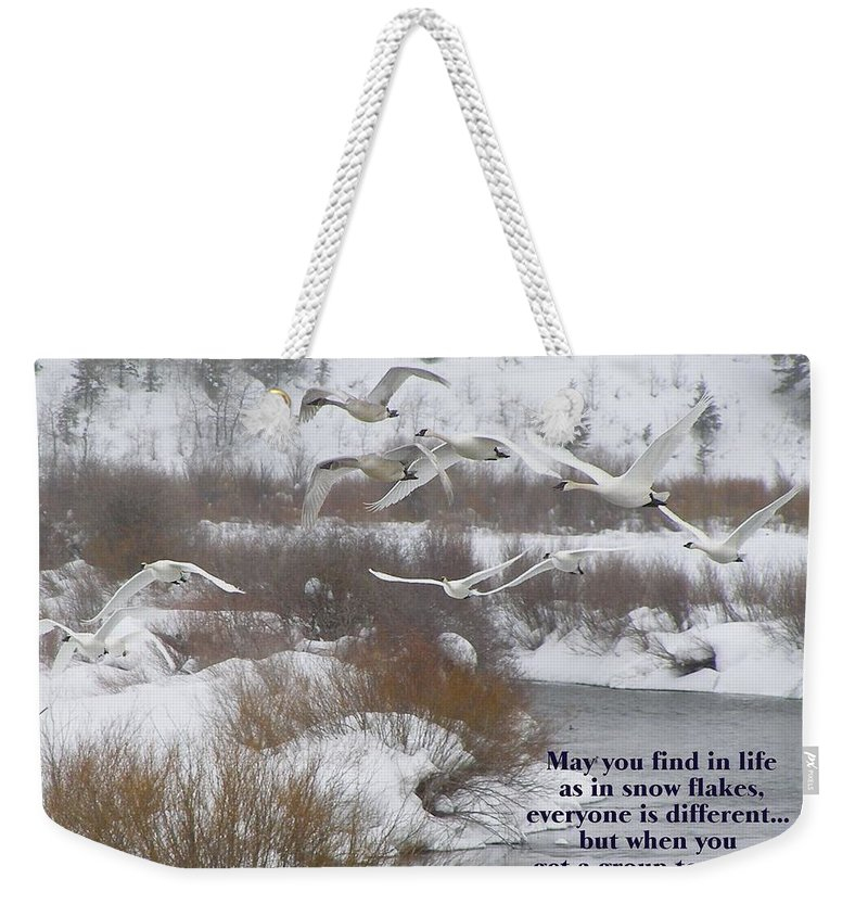 Swans Weekender Tote Bag featuring the photograph May You Find In Life... by DeeLon Merritt