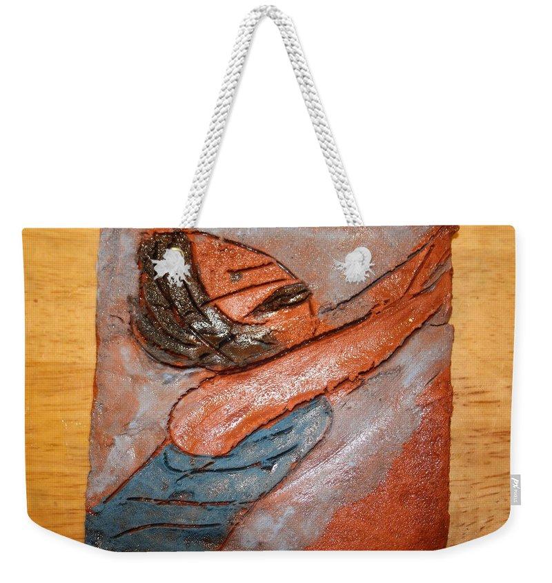 Jesus Weekender Tote Bag featuring the ceramic art Melissa - Tile by Gloria Ssali