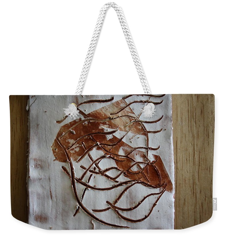 Jesus Weekender Tote Bag featuring the ceramic art Mellow - Tile by Gloria Ssali