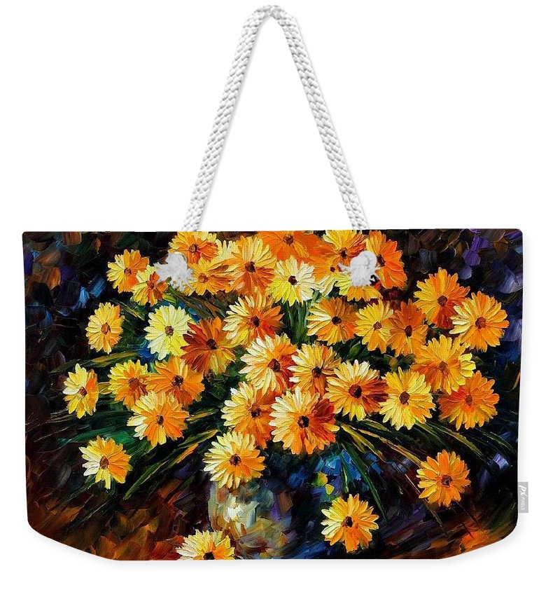 Afremov Weekender Tote Bag featuring the painting Melody Of Beauty by Leonid Afremov