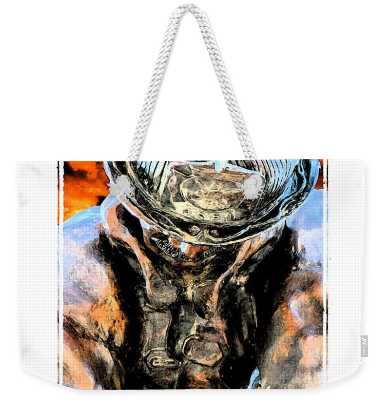 Firefighter Weekender Tote Bag featuring the digital art Memorial To A Hero by Tommy Anderson