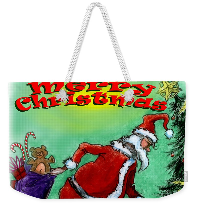 Christmas Weekender Tote Bag featuring the digital art Merry Christmas by Kevin Middleton