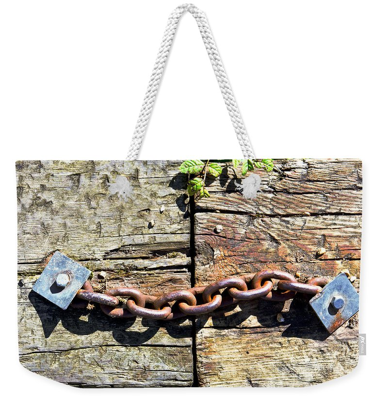 Abstract Weekender Tote Bag featuring the photograph Metal Chain by Tom Gowanlock