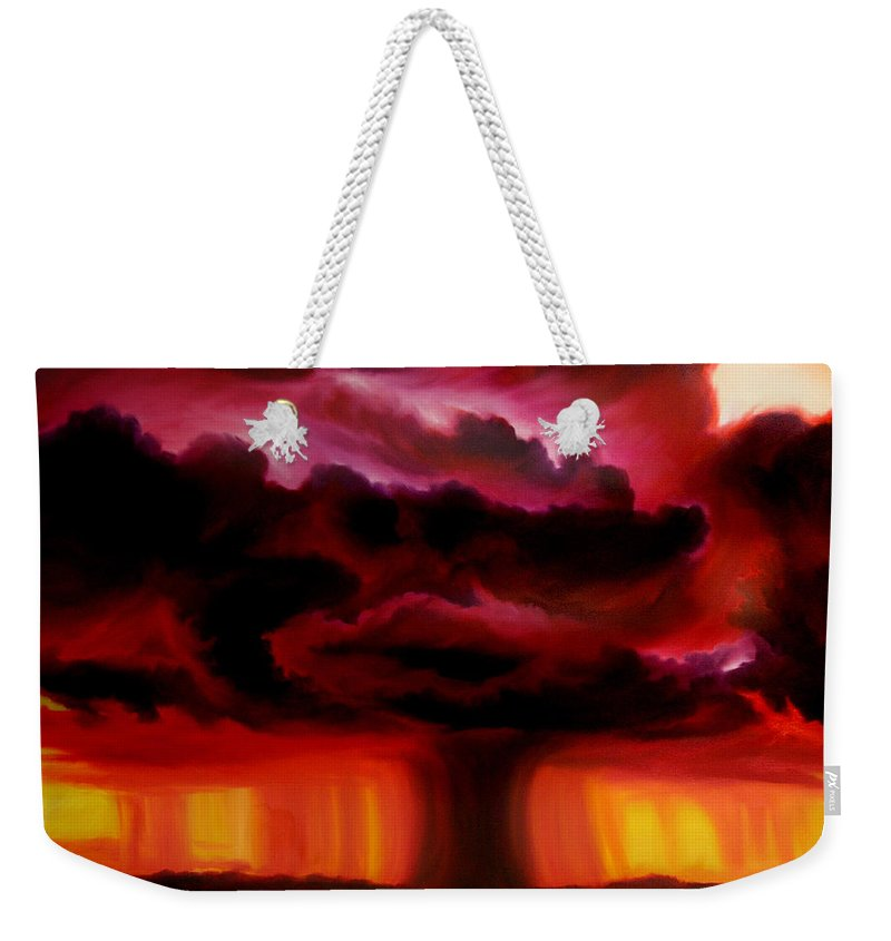 Skyscape Weekender Tote Bag featuring the painting Microburst by James Christopher Hill