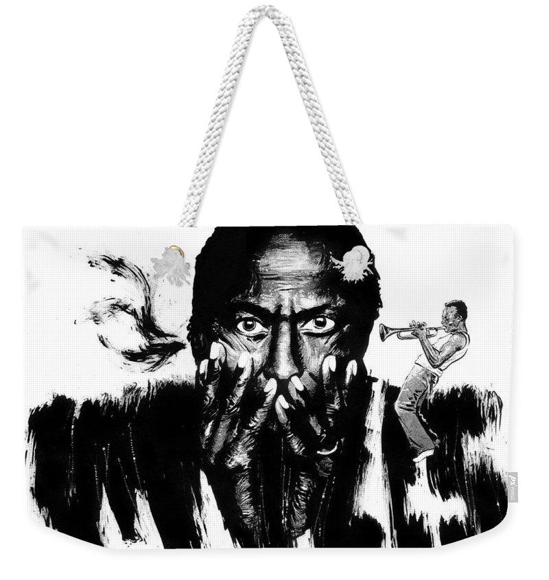 Weekender Tote Bag featuring the drawing Miles Davis by Ken Meyer jr