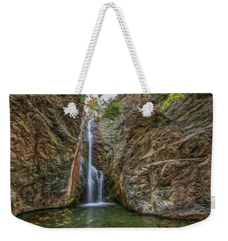 Millomeris Waterfall Weekender Tote Bag featuring the photograph Millomeris Waterfall - Cyprus by Joana Kruse
