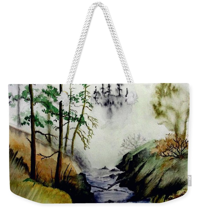 Creek Weekender Tote Bag featuring the painting Misty Creek by Jimmy Smith