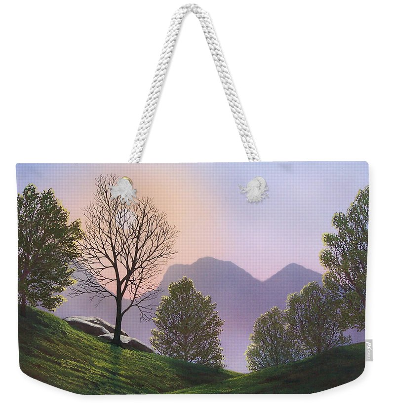 Landscape Weekender Tote Bag featuring the painting Misty Spring Meadow by Frank Wilson