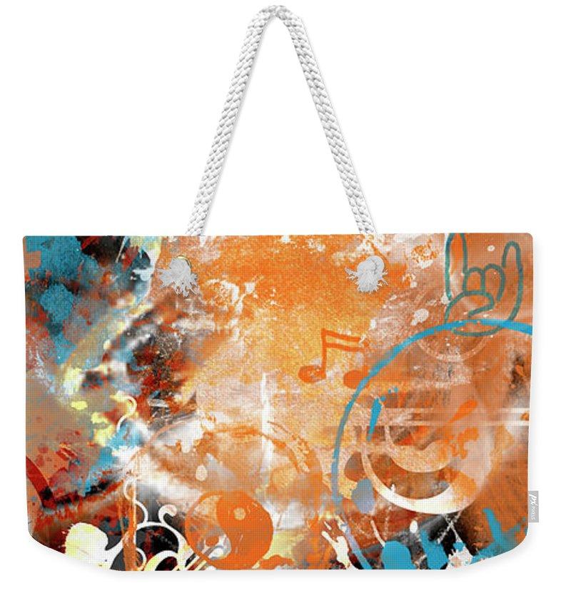 Abstract Weekender Tote Bag featuring the digital art Modern Art Beyond Control by Melanie Viola