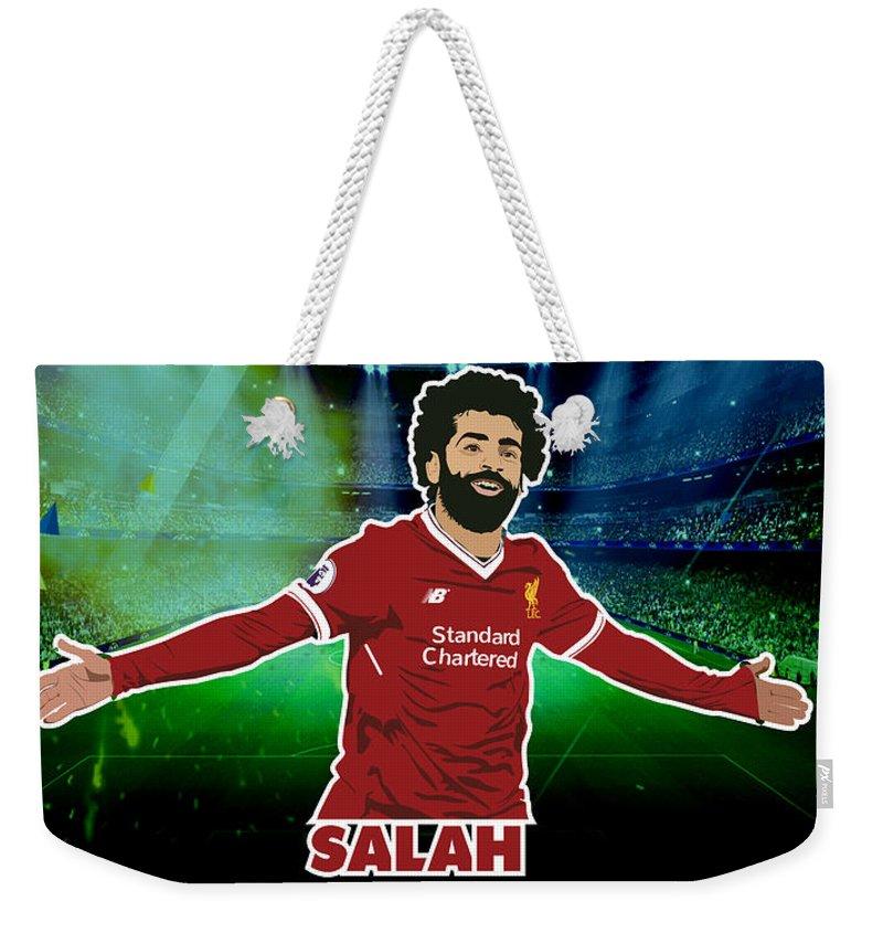 Mohamed Salah Weekender Tote Bag featuring the drawing Mohamed Salah 1 by Samar Abdelmonem