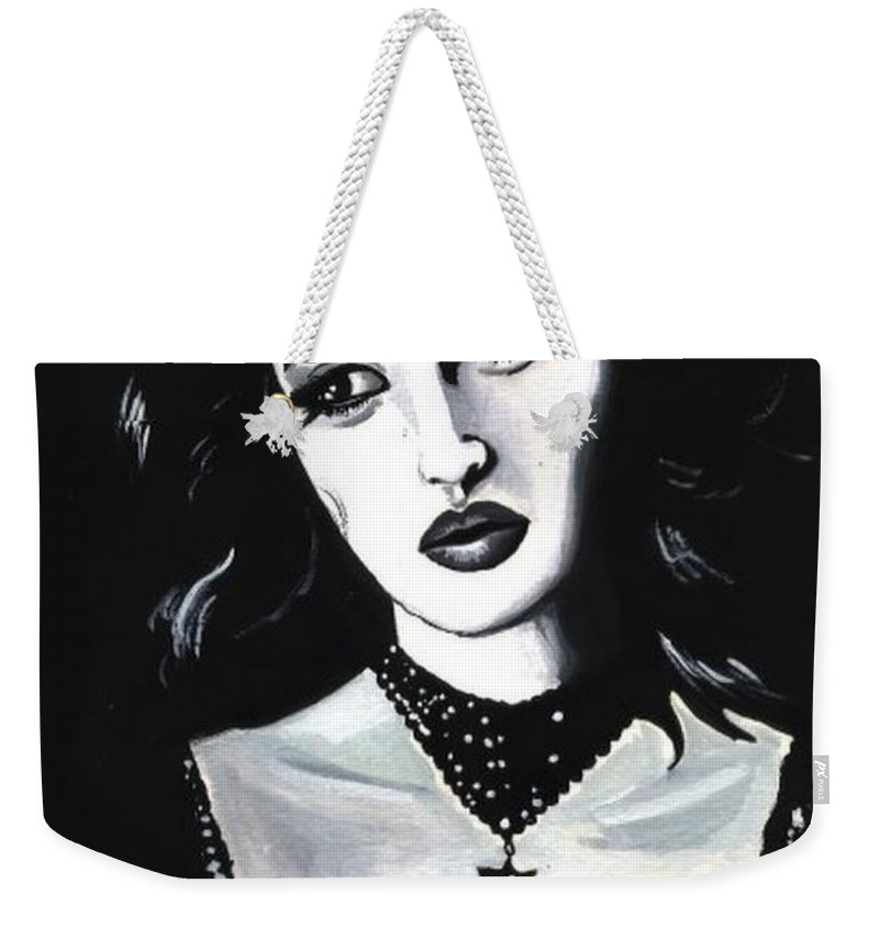 Monica Weekender Tote Bag featuring the painting Monica by Scarlett Royal